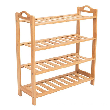 HOME Free Standing Bamboo Shoe Rack with Handles | 4 Tier | Wood | Closets and Entryway | Organizer | Fits 12 Pairs