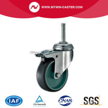 Braked Swivel Threaded Stem Grey Tpr Industrial Caster