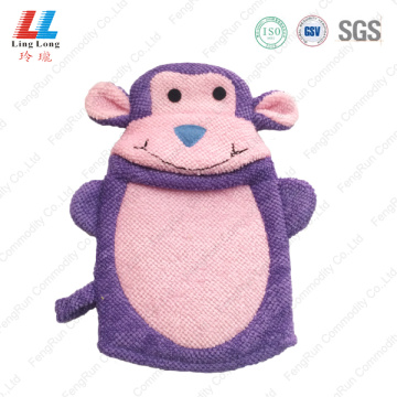 Purple microfiber pretty animal bath gloves
