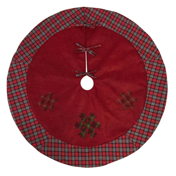 Tree skirt plaid Christmas decoration red snowflake