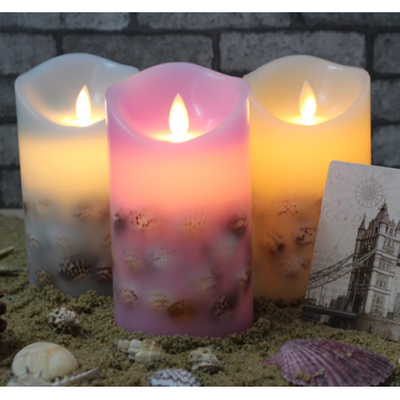 Real Wax Flicker Flameless Pillar LED Candle
