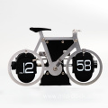 Stain steel silver bicycle table flip clock