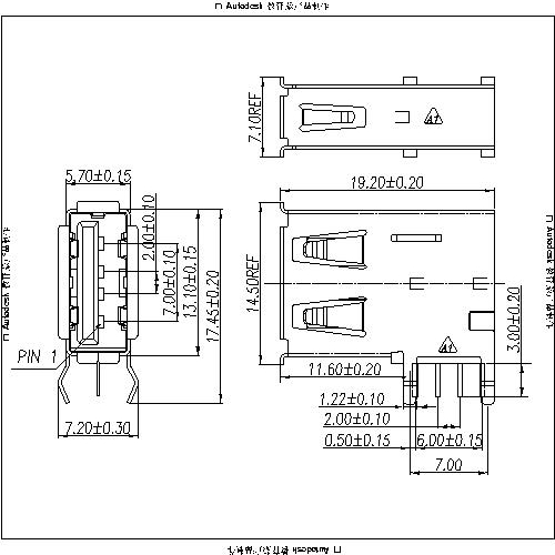 UAFR03 3-USB A Type Receptacle Angle Upright DIP