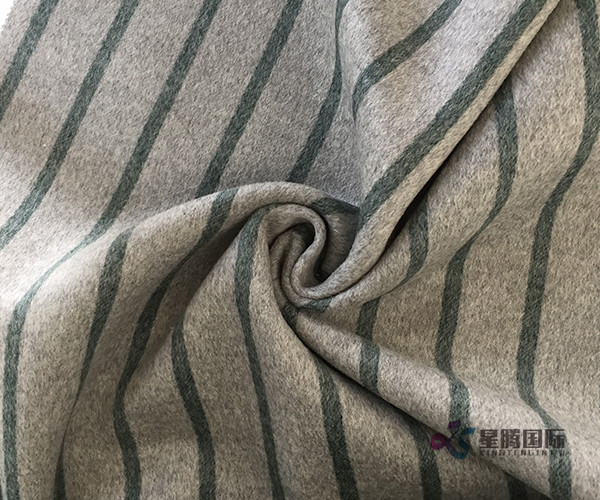 Green Vertical Stripe 100% Wool Fabric