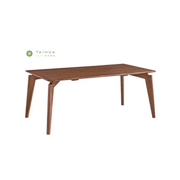 Rectangular Madilim na Walnut Solid Wood na Mesa sa Kainan