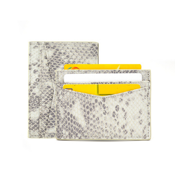 Custom Logo Durable Leather Python-skin Card Holder
