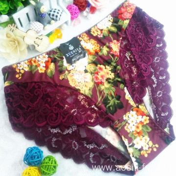China wholesale new style printed free sample underwear floral bordeaux red sexy briefs lace spandex fancy panty 6893