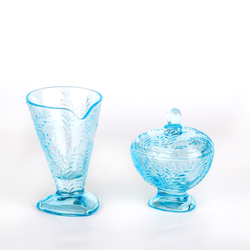 Leaf pattern spring style  ice cream glass with light blue color