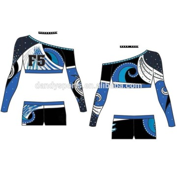 Custom designed crop top cheer uniform for youth