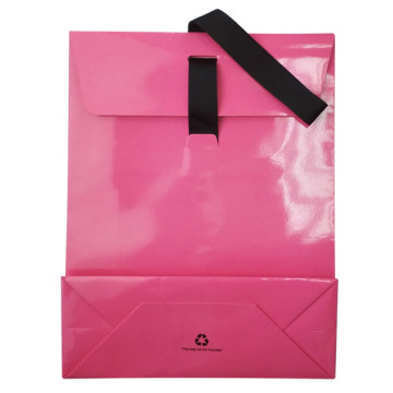Cheap Pink Luxury Ribbon Handles Stone Paper Bags