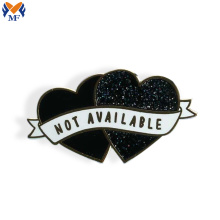Metal enamel custom glitter pin