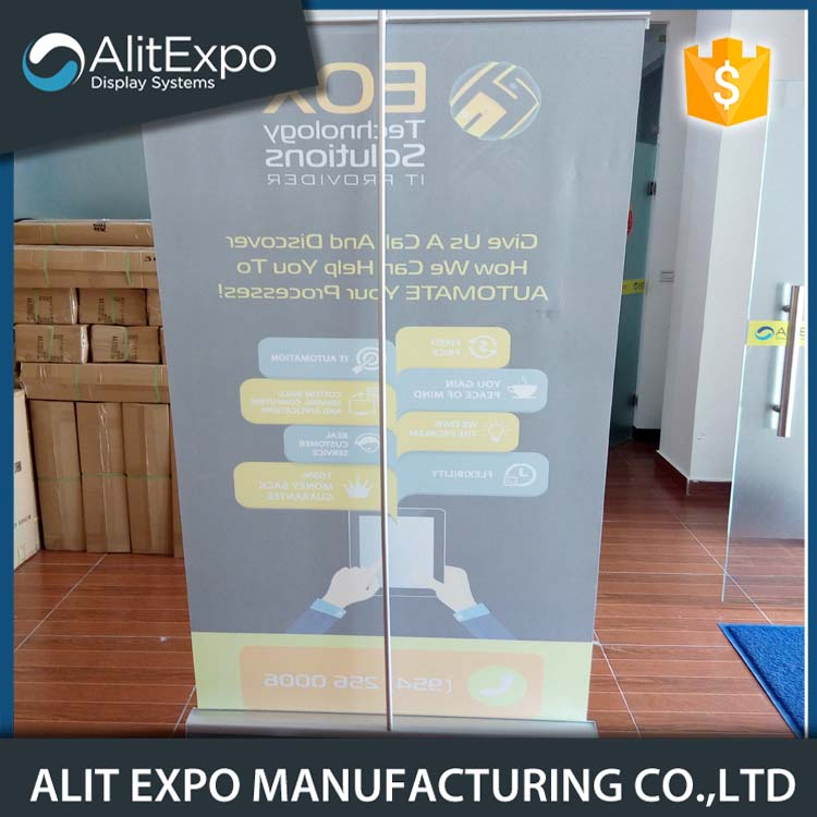 Economical promotional roll up screen stand