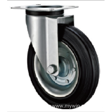 80 mm   medium duty industrial  rubber casters without brakes