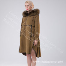 Winter Shearling Overcoat With Motif For Women