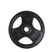 20KG Black Tri-grip Rubber Coated Olympic Weight Plate