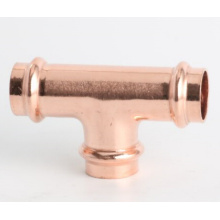 Copper V-profile press fitting tee