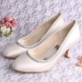 Customized Satin White Shoes for Wedding