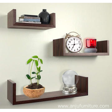 Rustic Wooden U shape Wall mounted floating shelf shelves