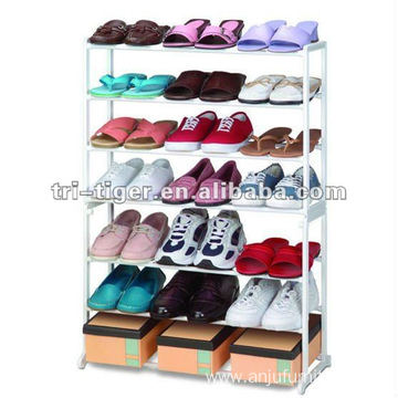 21 Pairs Free Standing Steel Pipe Shoe Rack For Floor