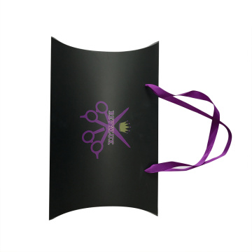 Purple Silk Ribbon Handle Gift Use Pillow Paper Box