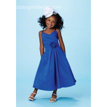 A-line V-neck Spaghetti Straps Ankle-length Satin Flower Girl Dress