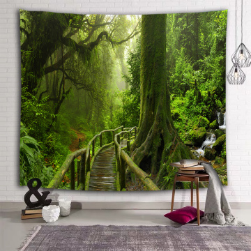 Forest Natural Wall Tapestry Green Trunk Wooden Bridge Tapestry Wall Hanging for Livingroom Bedroom Dorm Home Decor
