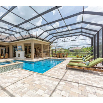 Retractable Roof Glass And Polycarbonate Swimming Pool Cover