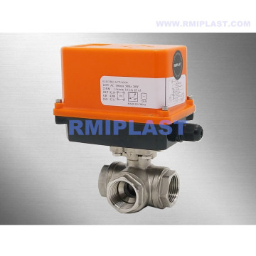 Electric Actuated Ball Valve Three Way L Port T Port