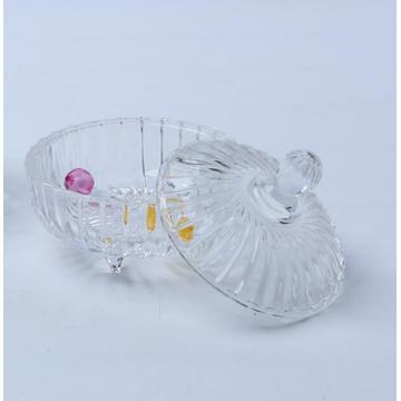 Glass Ribbed Candy Jar Food Bowel With Foot
