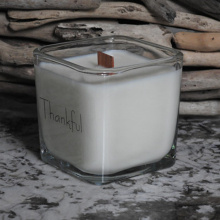 Square glass jar luxury scented wood wick candle