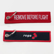 personalized remove before flight embroidered keychain