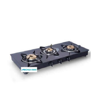 Glen Gas Stove Brass Burner Black Cooktop