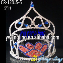 Leading for Snowflake Round Crowns Wholesale Rhinestone Claw Pageant Crowns export to Tokelau Factory