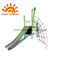 Green Spider Net With Slide Playground Equipment
