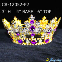 Full Round Gold Purple Rhinestone Crystal King Crowns