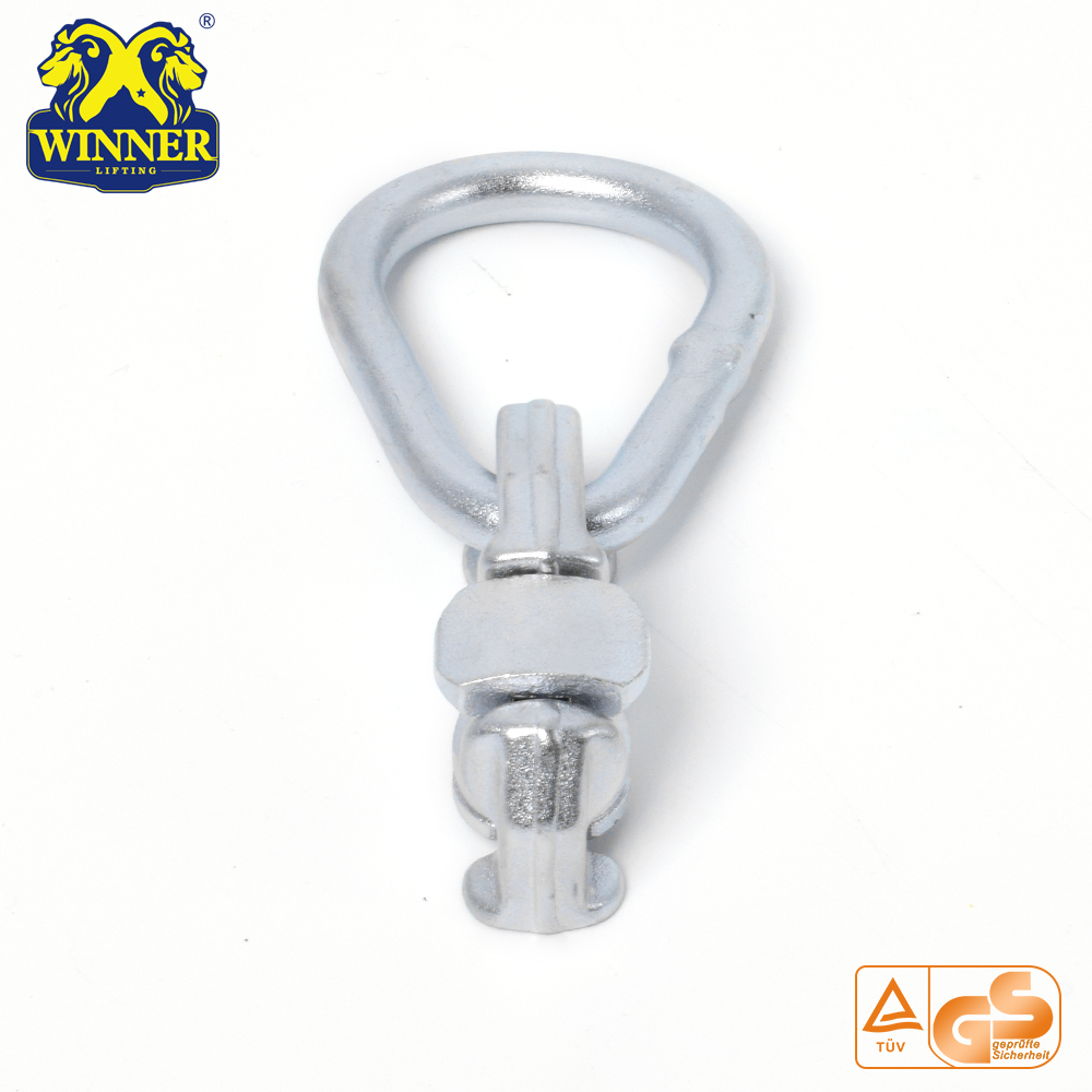 L Track Zinc Plated Double Stud Fitting With Oval Ring