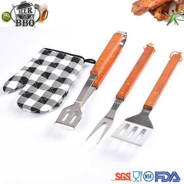 wooden good quality handle bbq tool set