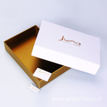 Gold Foil Printing White Custom Box for Clothing