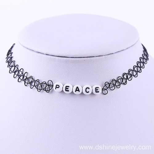 Alphabet Beads Handmade Stretch Tattoo Choker Necklace