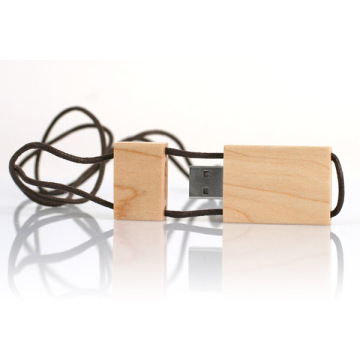 Wooden usb flash drive with lanyard