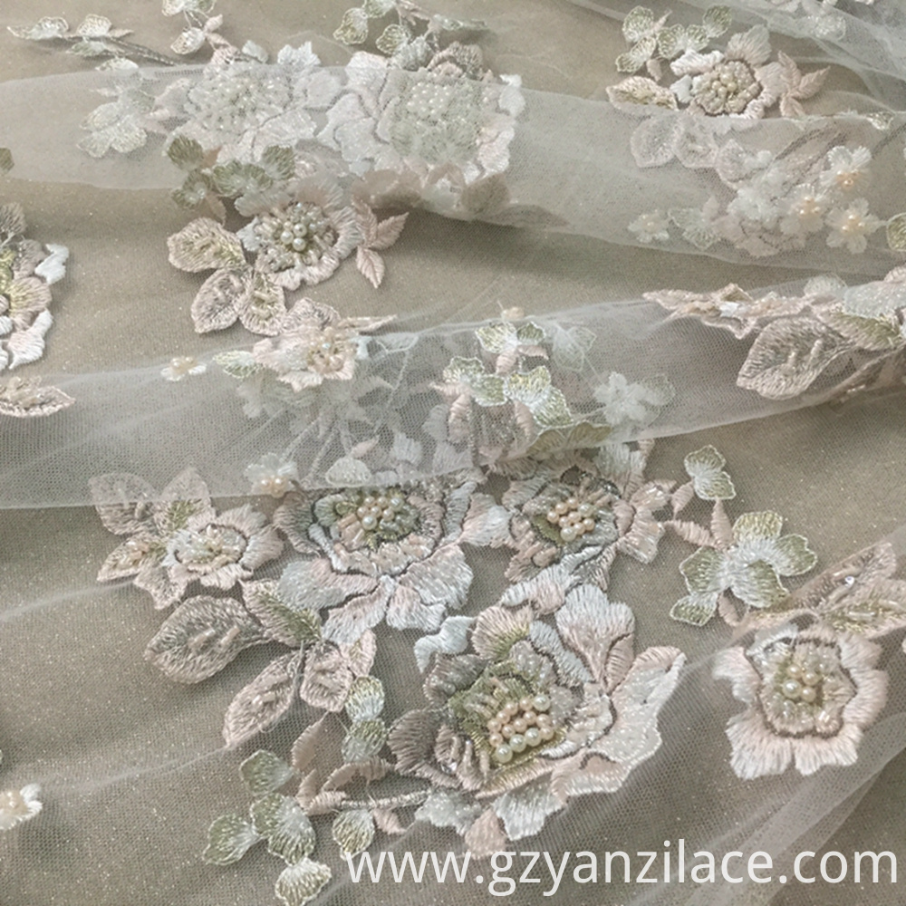Pearl Beaded Lace Fabric