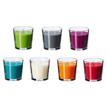 Natual glass jar colorful wax scented candles