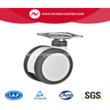 5 Inch Plate Swivel PU And PA Material Medical Twin Caster