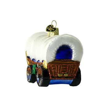 Wagon Shaped Customized Painted Christmas Glass Ornaments
