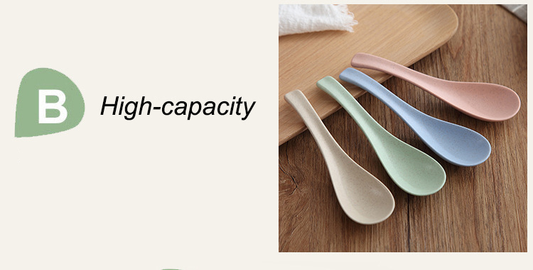 Reusable Wheat Round Plastic Spoon