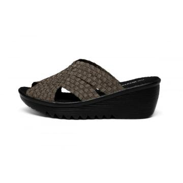Online Manufacturer for Womens Leisure Pu Wedge Slippers Breathable Elastic Band And Woven Upper Slippers export to India Factory