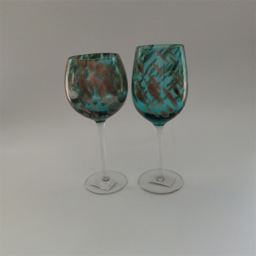 Factory price swirled blue and gold glass drinkware