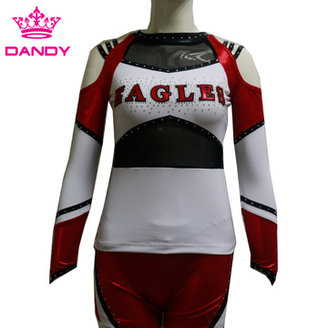 Europe style for Cheerleader Uniform all stars custom metallic long sleeve cheerleading uniforms export to Togo Exporter