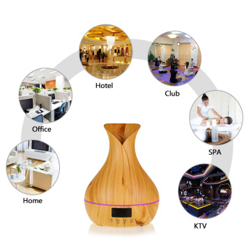 Wood Grain Alarm Clock Essential Oil Aroma Diffuser