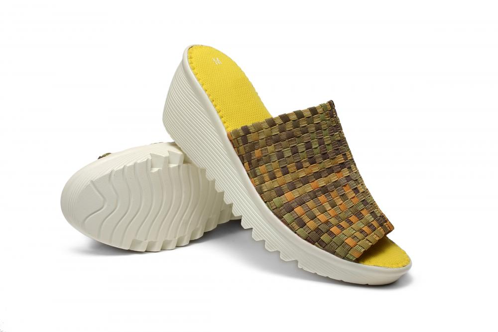 Yellow Colorful Woven Slippers